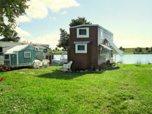 THOW Tiny House on Wheels and cottage on river